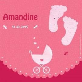 """Faire part naissance """"Landau rose"""" avec TextO2 à détacher """"Pieds""""+ enveloppe"""