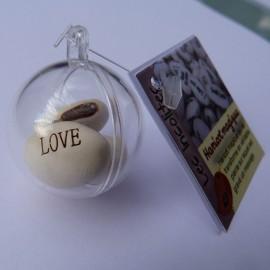 Boule transparente et ses 3 graines de haricots magiques blanc