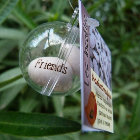Boule transparente et ses 3 haricots magiques blanc