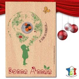 """""""Bonne Année"""" sur bois - Carte à graines (recto)"""