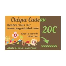 Chèque cadeau 20€ (valable 1 an)