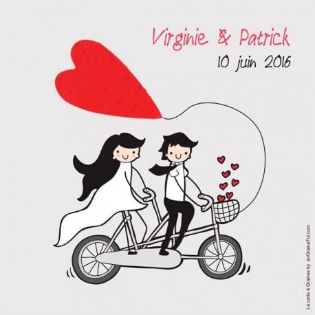 """Faire part mariage """"En vélo"""" avec TextO2 à détacher """"Coeur""""+ enveloppe"""