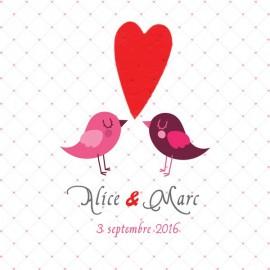 """Faire part mariage """"Les oiseaux"""" avec TextO2 à détacher """"Coeur""""+ enveloppe"""